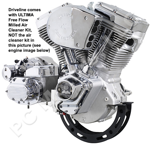 Ultima El Bruto 113 Ci Natural Chrome Finish Driveline Engine Motor Kit Harley